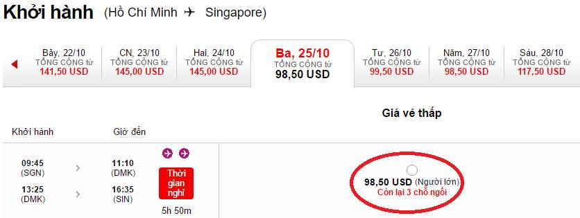 HCM-Singapore t10 air asia